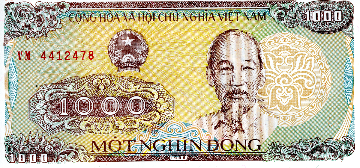 The front of a Vietnamese 1,000 Dong note
