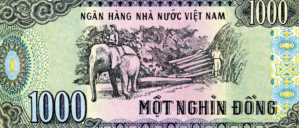 The rear of a Vietnamese 1,000 Dong note