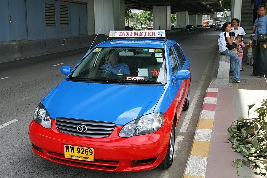 A Bangkok metered taxi, but most Bangkok taxi drivers refuse to use their meters