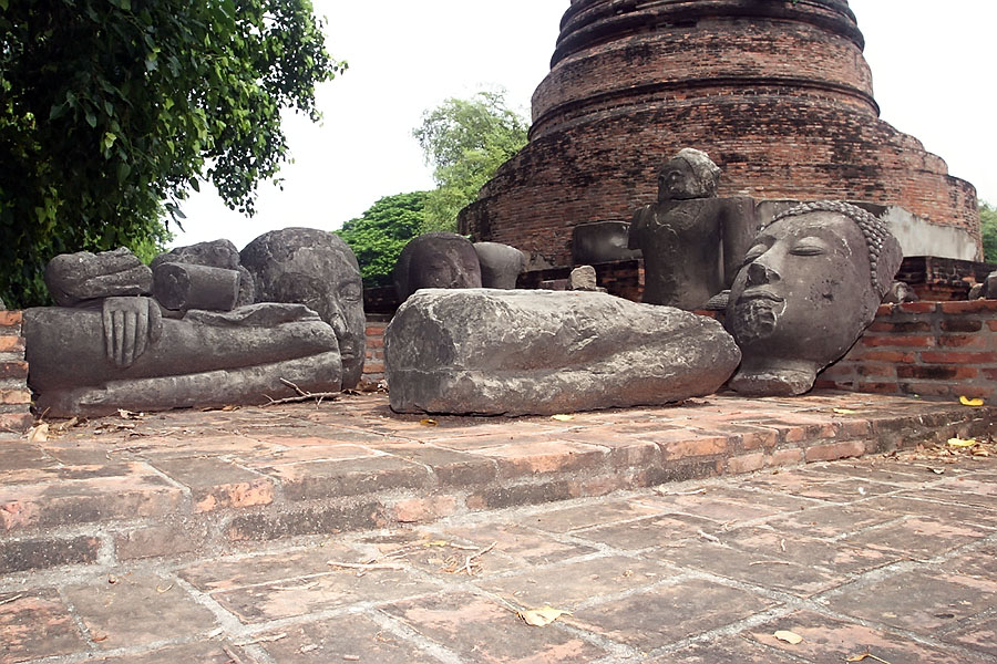 Just lying on the ground around the temples are an amazing number of original artefacts