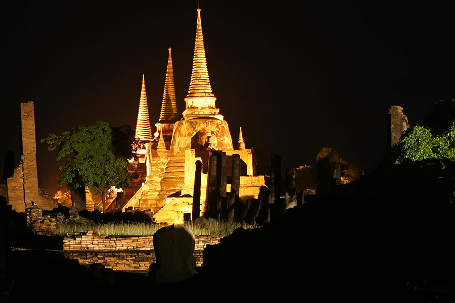 If anything, Ayuthaya looks even more magnificent at night but use LOTS of mosquito repellent