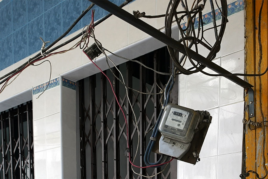 Electric meter installation in Thailand
