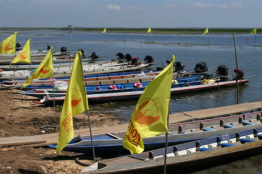 Tour boats at Thale Noi, Phattalung province, Thailand