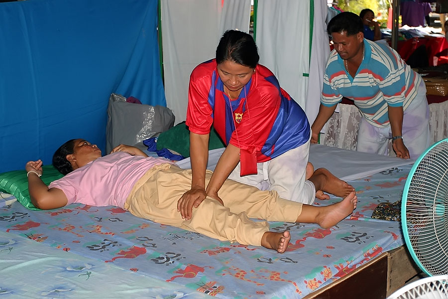 Thai massage at Thale Noi, Phattalung province, Thailand