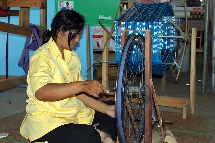 Spinning thread at Thale Noi, Phattalung province, Thailand