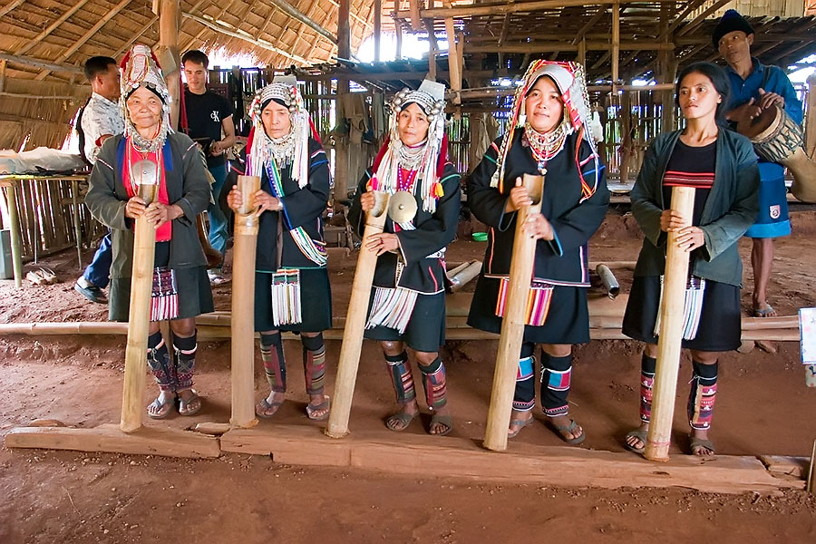 Hill tribe music performance, Chiang Rai