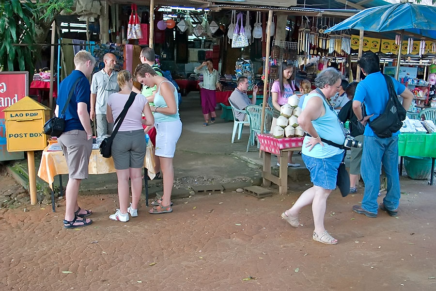 Western tourists in Donexao, Laos