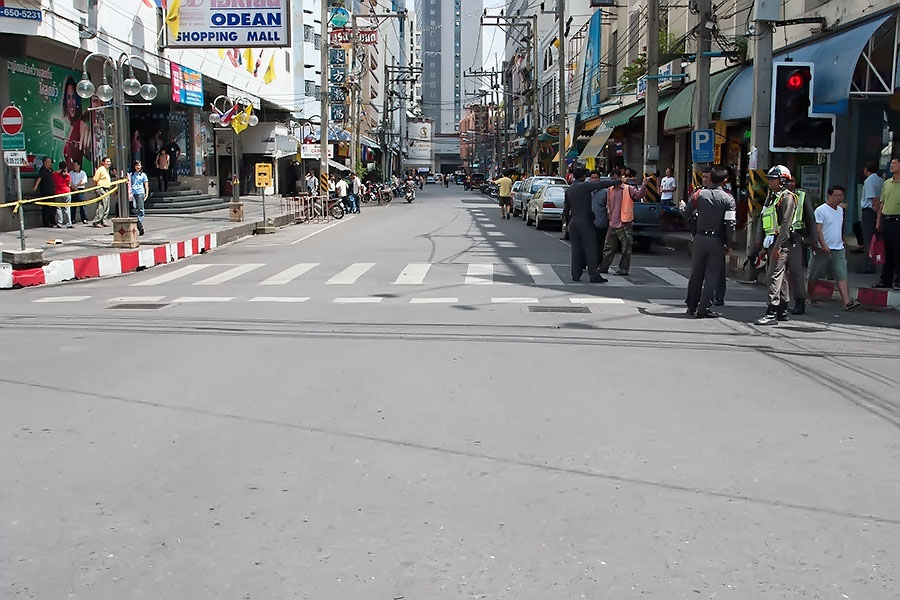 Empty streets in Hat Yai after the explosions