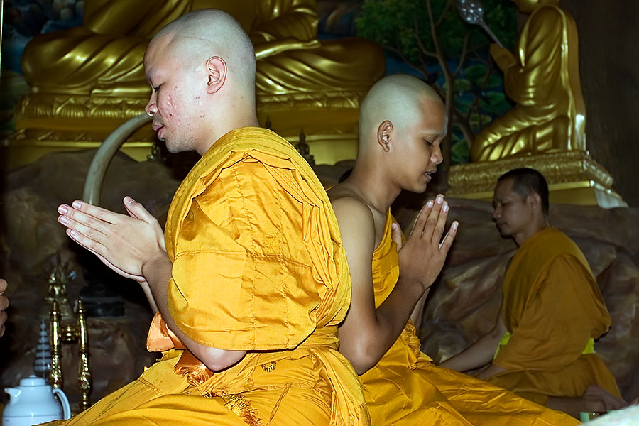 Two young Thai males being ordained as Buddhist monks