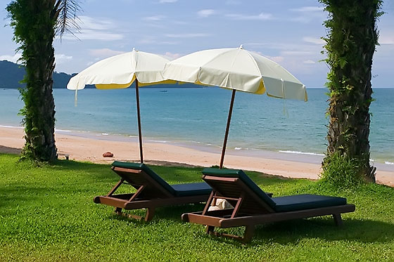 Sunbeds by the Andaman Sea