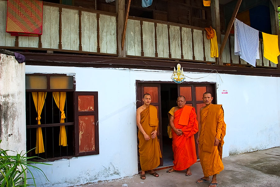 Monks at their monastery just across the road from Wat Phrathat