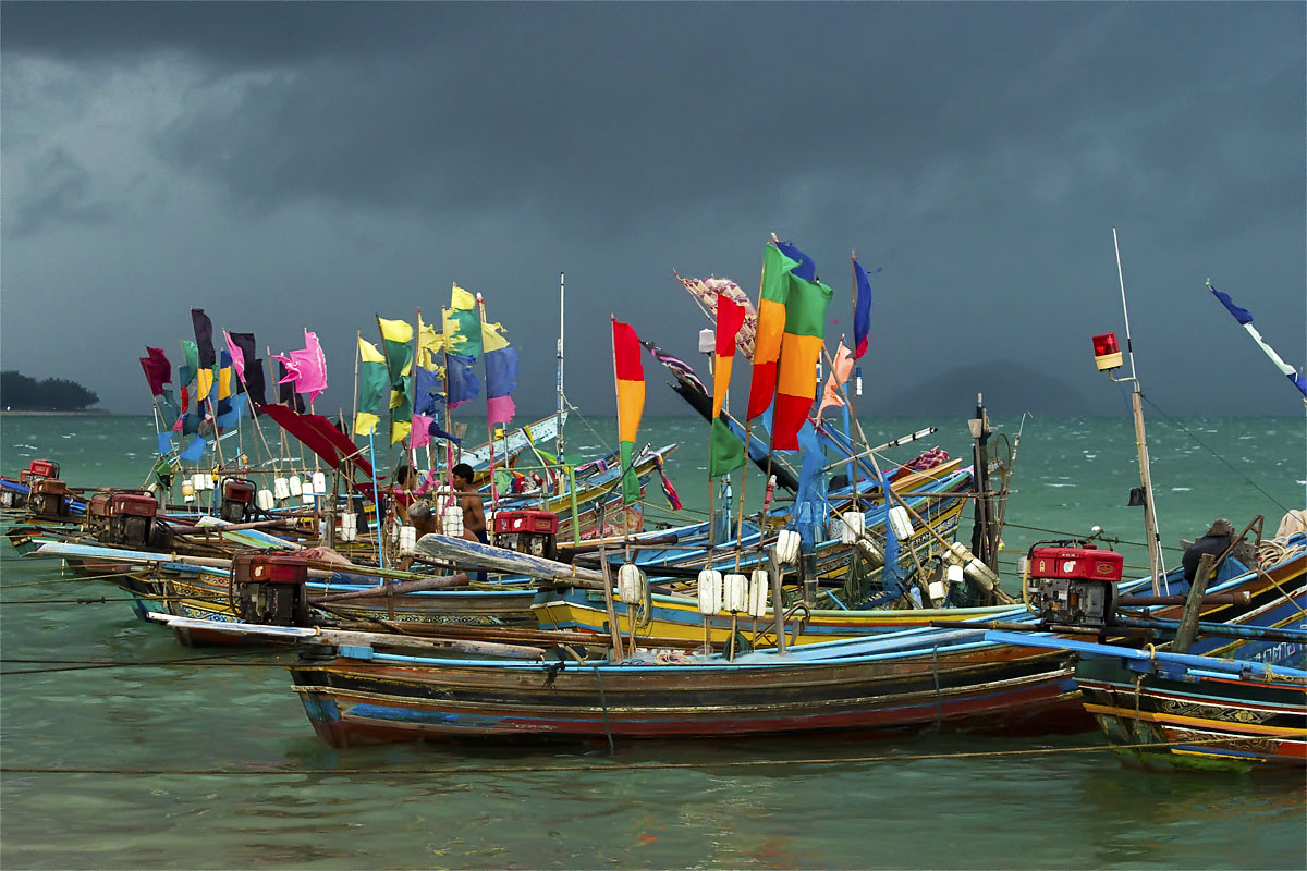 Colourful boats in the Muslim fishing village of Kao Seng
