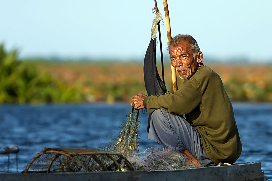 Local fisherman at Thale Noi, Phattalung province, Thailand