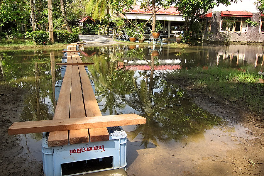 Lampam Resort with a minor flood