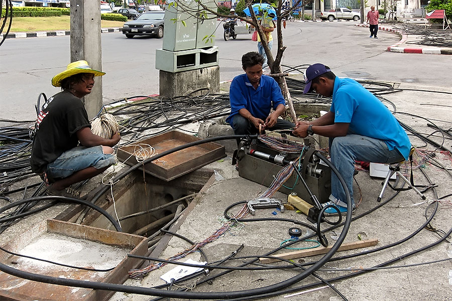 Burying phone cables, Hat Yai, Thailand