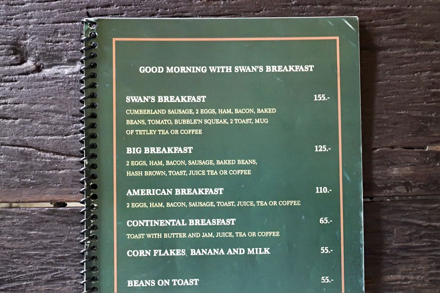 The Swan breakfast menu