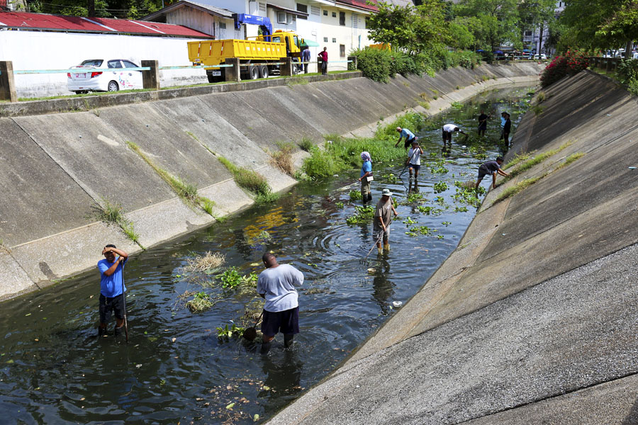 Workers removing vegetation from a canal