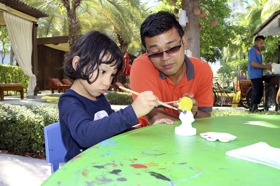 Painting activity for children at the Amari Garden Hotel, Pattaya