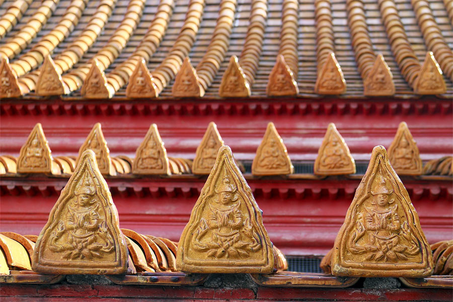 Roof tiles at the marble temple in Bangkok