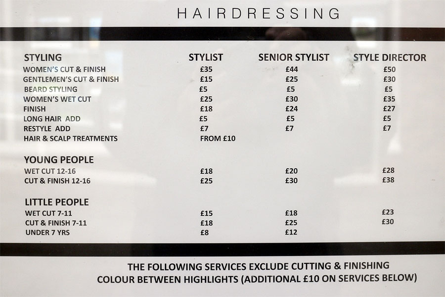 UK hairdressing prices and, no doubt, prices are a lot more expensive in London