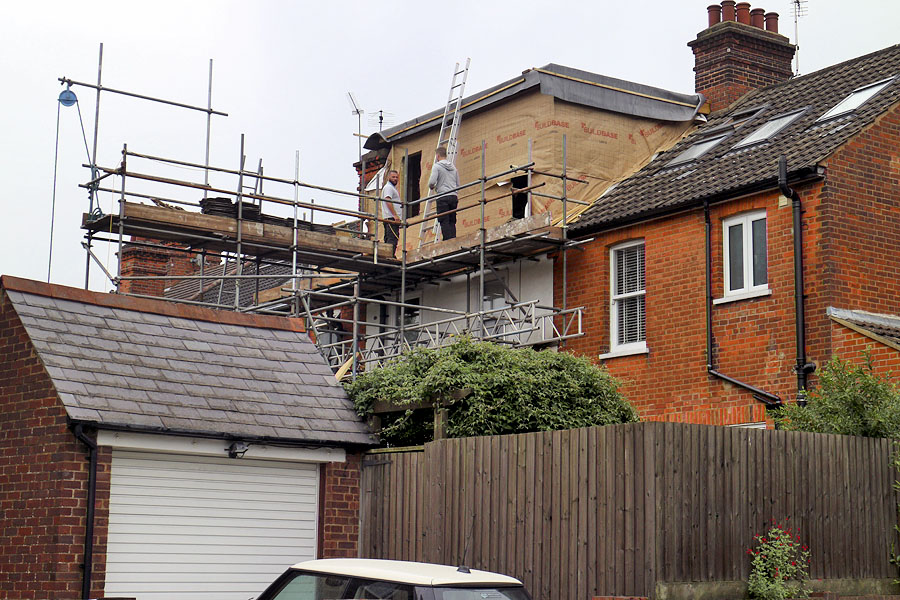 Loft conversion being carried out in the UK