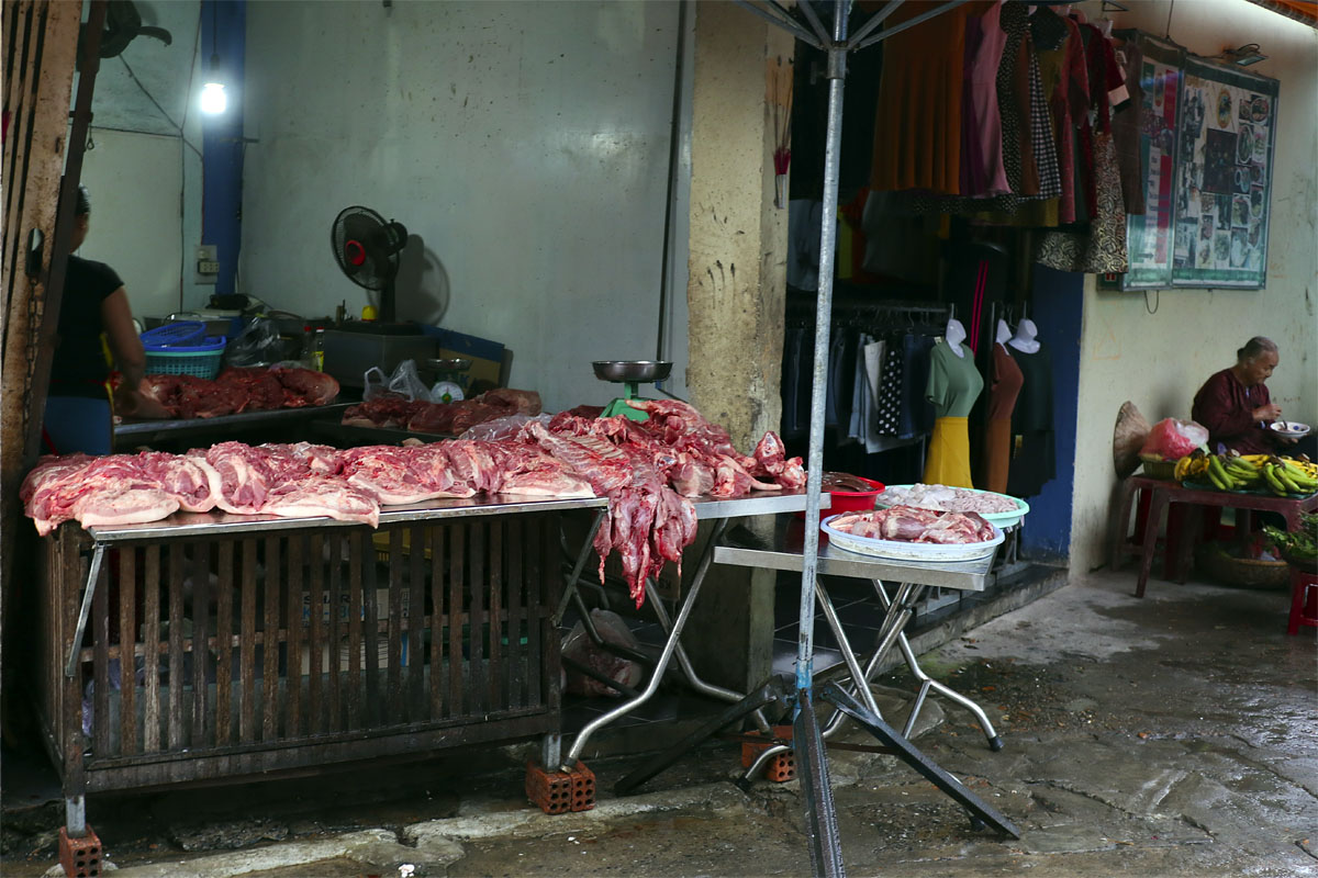 Traditional butcher shop in Hoi An, Vietnam