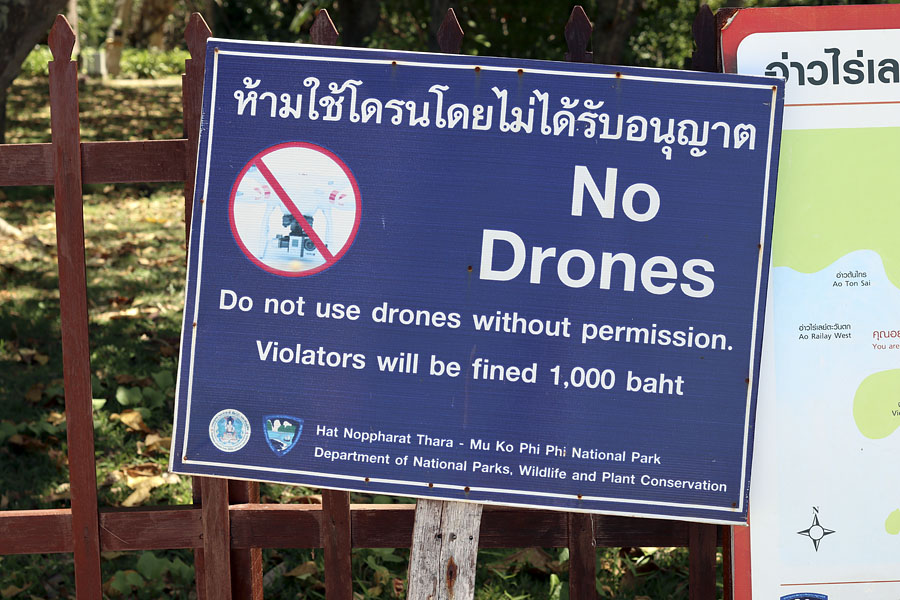 No unauthorised drones, Railay beach, Krabi