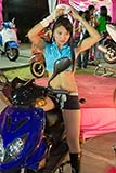 A promotion girl advertising JRD motorbikes - Click for larger image